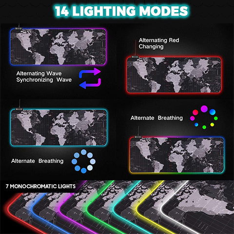 14 Lighting Modes of RGB Gaming Mouse Pad