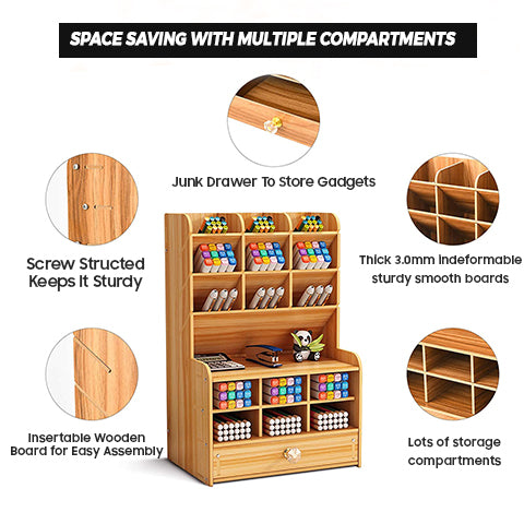 Space-saving Wooden Desk Organizer with multiple compartments
