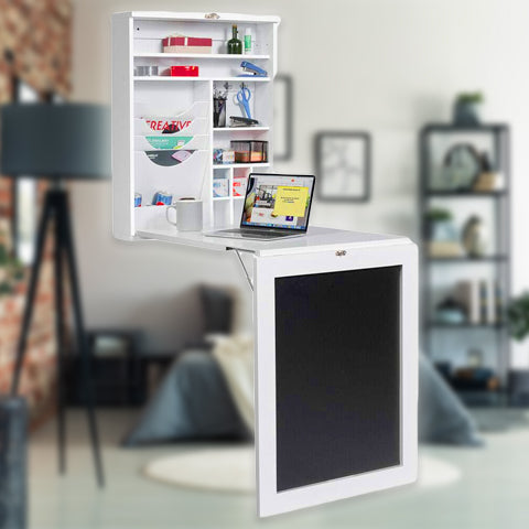 24 Inch Wall Mounted Desk and Chalkboard