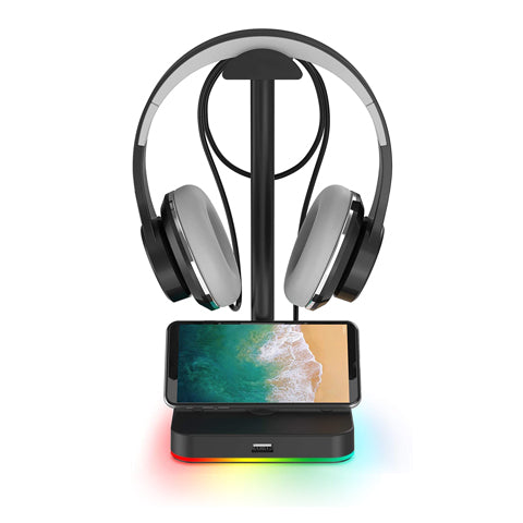 RGB Headphone Stand with USB Hub