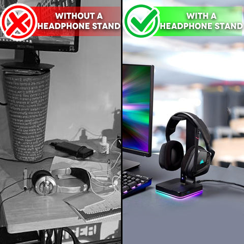 Without a headphone stand VS using the RGB Headphone Stand with USB Hub
