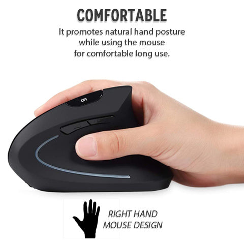 Comfortable use; right hand mouse design