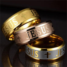 "Load image into Gallery viewer, ""Faith of Steel"" Jesus Ring"