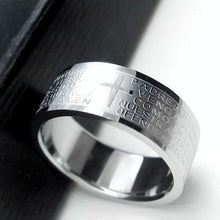 "Load image into Gallery viewer, ""Lord's Prayer"" Titanium Scripture Ring"