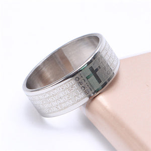 """Lord's Prayer"" Titanium Scripture Ring"