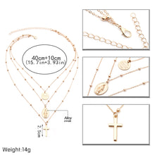 Load image into Gallery viewer, Layered Cross Necklace