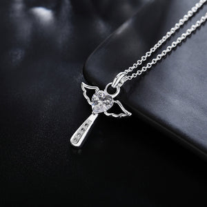 Silver Plated Angel Cross Necklace