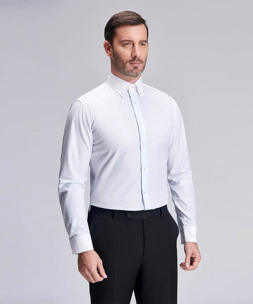 WHITE STRIPE SLIM FIT FORMAL SHIRT
