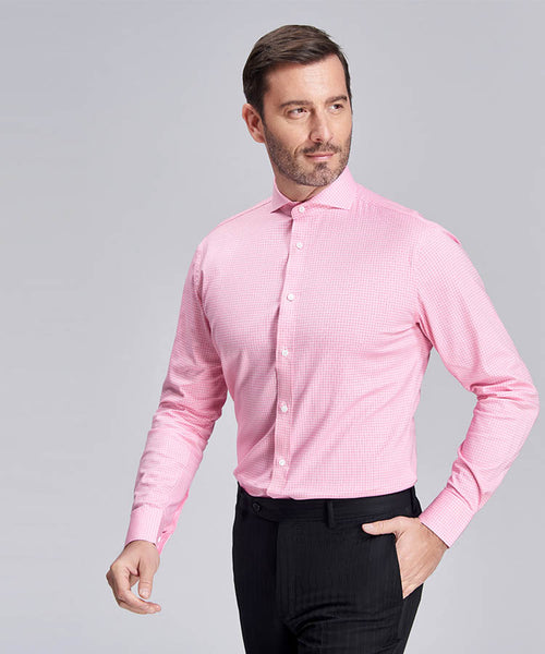 Square-weave pink shirt