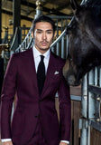 WINE RED WOOL TWO BUTTON CUSTOM WEDDING SUIT