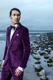 PURPLE VELVET PEAK LAPEL CUSTOM WEDDING SUIT