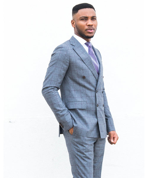 Jorge Carli Grey Windowpane Double-breasted Suit
