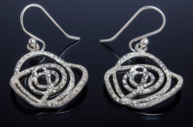ecb3e466e1a63 .925 silver rose shaped earrings with hammered design.