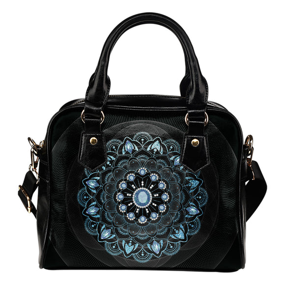 Winter Leaves Mandala Shoulder Handbag