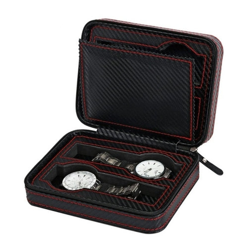 Leather Watch Box with 2/4 Grids Carbon Fibre