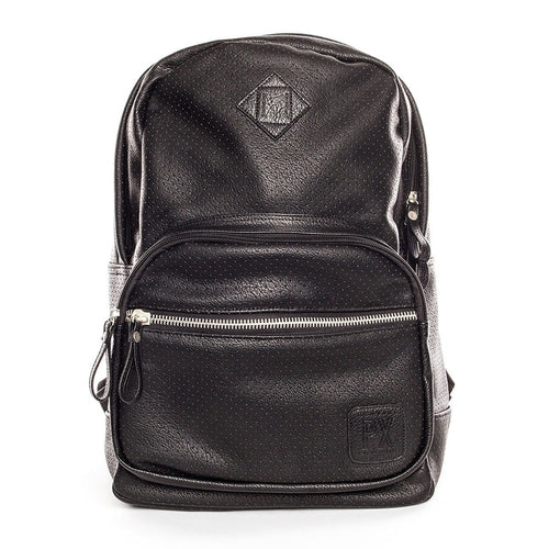 Leather Backpack - Black Perforated Bag