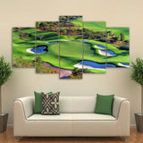 Canvas Art Green Golf Course Painting - HD Printed 5 Piece - Top View Wall Pictures for Living Room Decor