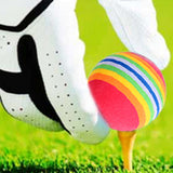 6Pcs/Pack Sponge Golf Balls - Rainbow Stripe FOAM - Swing Practice Training Aids - Colorful Golf Ball Dia.42mm - Interior Golf Game