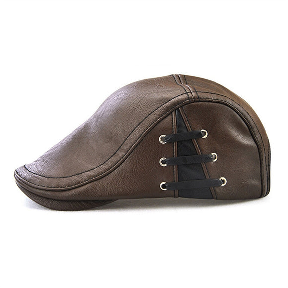 Men Flat Cap Vintage PU Leather Newsboy Cap -  Flat Golf Hat