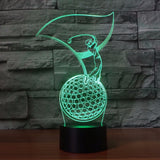 3D Golfer Modelling LED Table Lamp - Bedroom LED Vision Night Light - USB 7 Colors Changing Sleep Lighting - Golf Enthusiast Gift
