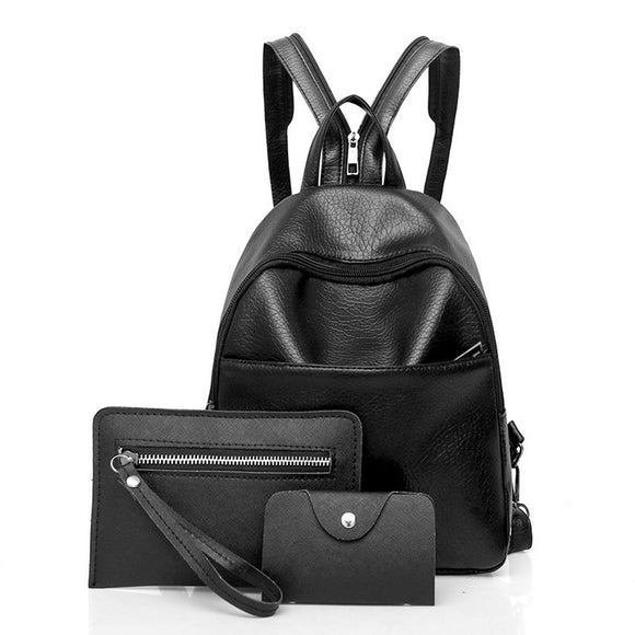 Women Three Sets Fashion Backpack - Shoulder Bags - Messenger Bags - Clutch Wallet