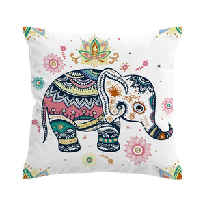 Elephant Pillowcase Bohemian - Rainbow Mandala - Modern Line Art Cushion Cover (one-sided print)