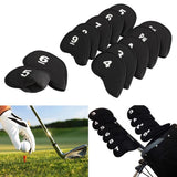 10pcs Golf Head Cover Club Iron Putter - Head Protector Set Neoprene Black