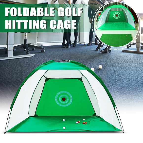 Golf Hitting Cage - Foldable Portable 2x1.4m Practice Net Trainer with raining Aid Mat