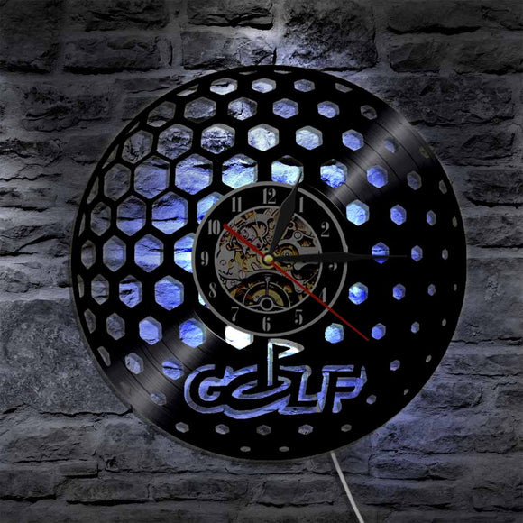 Golf Wall Clock - 1 Piece Golf Ball Silhouette LED Backlight - Modern Wall Lamp Decorative Lighting