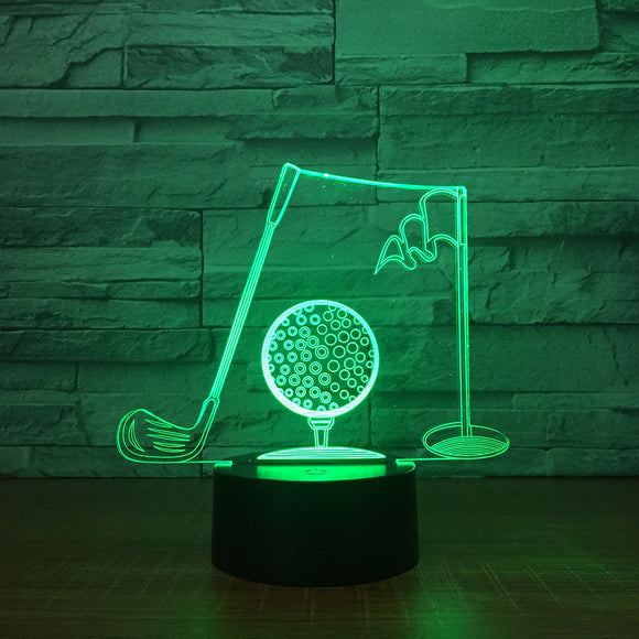 Golf Clubs 3D Visual Table Lamp Acrylic NightLight LED 7 Color Changing Light Fixture Bedroom Office Decor For Businessman Gift