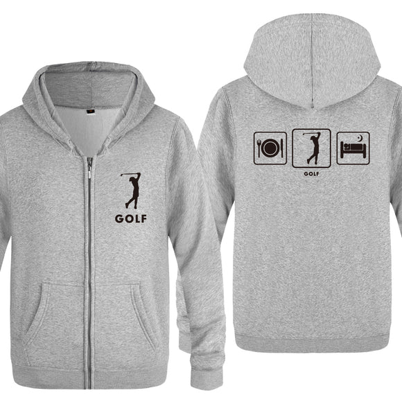 Golf Sweatshirts Unisex - Zipper Hooded Fleece - Golfer Creative Gift - Hoodies