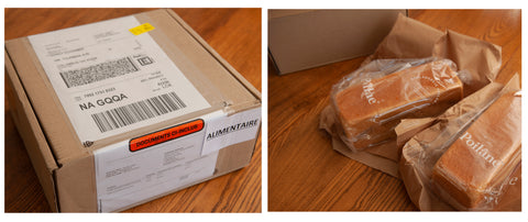 Poilane box and 2 loaves of bread shipped from France