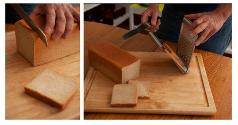 Slicing a bread loaf and putting into The Nicer Slicer