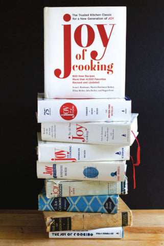 Nine editions of The Joy of Cooking cookbook