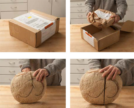 4 images of opening a box and removing and slicing a large loaf of French bread