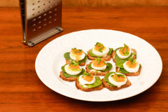 Boiled egg and whitefish hors d'oeuvres with The Nicer Slicer