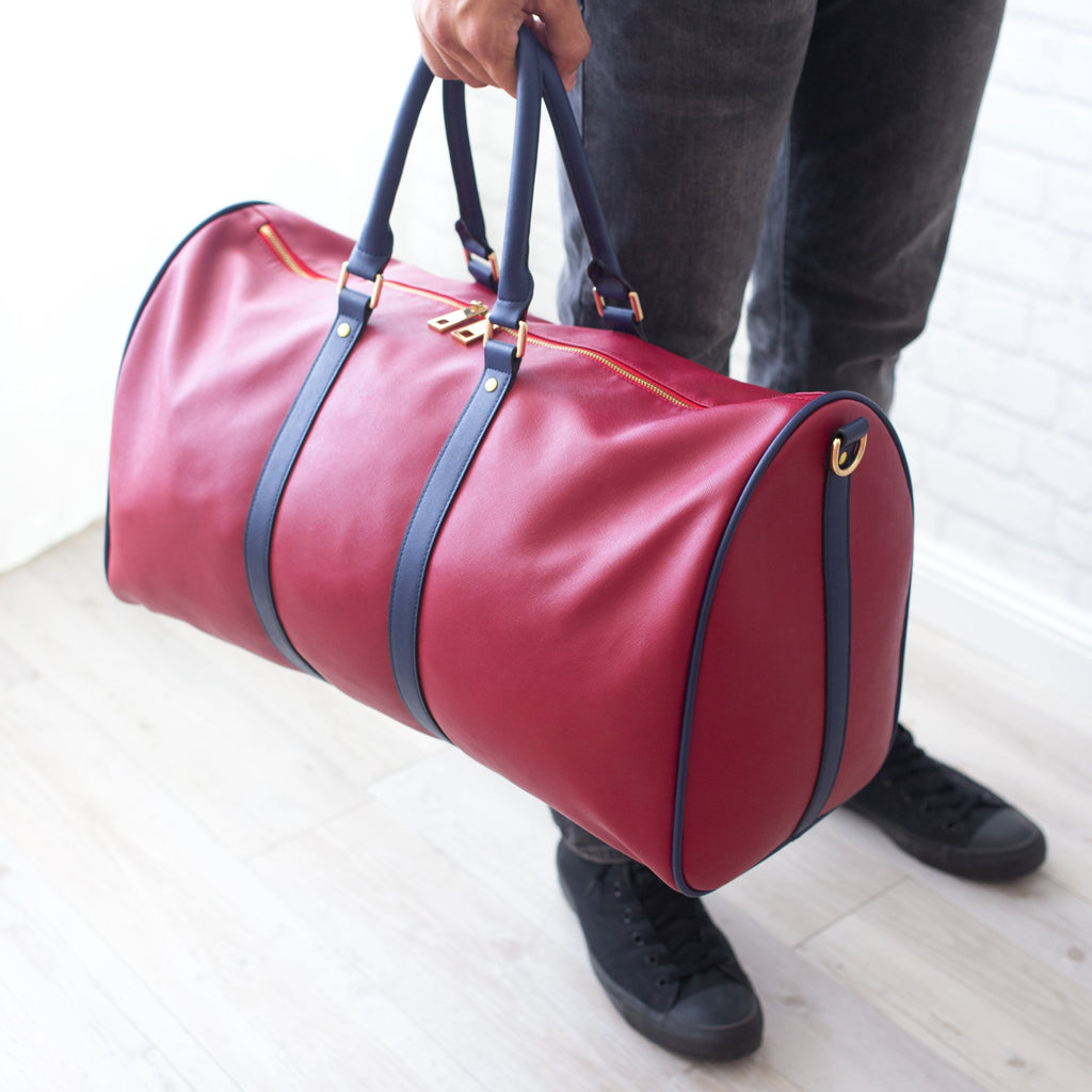 Duffle Bag - Burgundy/Navy - Smith & Jones Australia