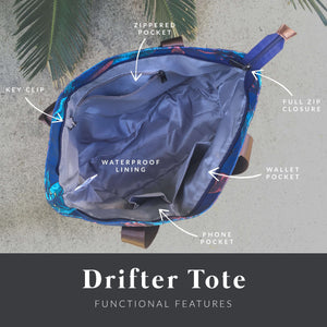 interior diagram showing the zippered pocket, key clip, wallet pocket, phone pocket, and waterproof lining of the salt atlas drifter tote bag in blue lily print