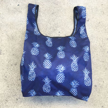 Load image into Gallery viewer, salt atlas foldable eco bag in indigo pineapple print