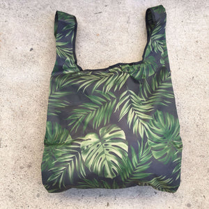 salt atlas foldable eco bag in tropical green print
