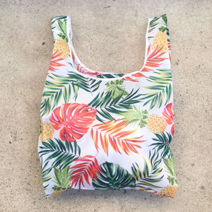 salt atlas foldable eco bag in tropical white priint