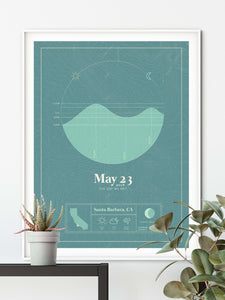 white framed picture of the personalized tide poster by salt atlas in the Tahiti teal color in a home setting. These are custom posters showing the tide, weather, and moon phase for a special day, like an anniversary or birthday.