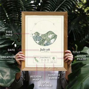 wooden framed picture of the personalized tide poster by salt atlas in the tropical print island green color held by a person in an outdoor setting. It displays the explanations of the details of the tide posters. These are custom posters showing the tide, weather, and moon phase for a special day, like an anniversary or birthday.