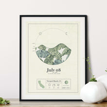 Load image into Gallery viewer, black framed picture of the personalized tide poster by salt atlas in the island green color in a home setting. These are custom posters showing the tide, weather, and moon phase for a special day, like an anniversary or birthday.
