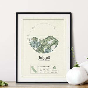 black framed picture of the personalized tide poster by salt atlas in the island green color in a home setting. These are custom posters showing the tide, weather, and moon phase for a special day, like an anniversary or birthday.