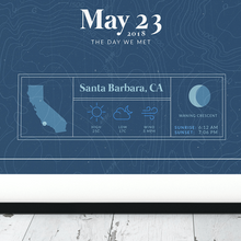 Load image into Gallery viewer, close up of a black framed picture of the personalized tide poster by salt atlas in the vintage cobalt color. these are custom posters showing the tide, weather, and moon phase for a special day, like an anniversary or birthday.