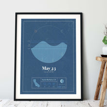 Load image into Gallery viewer, black framed picture of the personalized tide poster by salt atlas in the vintage cobalt color in a home setting. These are custom posters showing the tide, weather, and moon phase for a special day, like an anniversary or birthday.