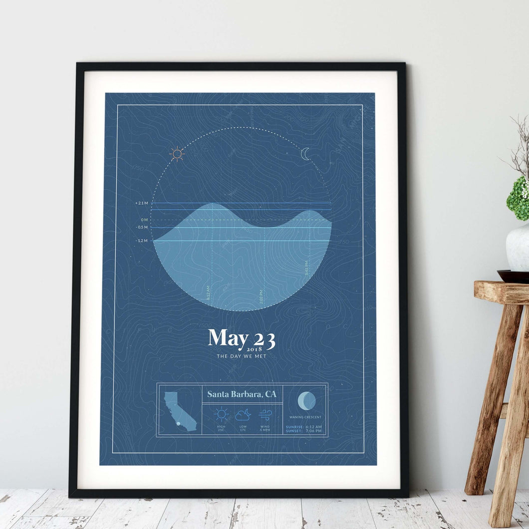 black framed picture of the personalized tide poster by salt atlas in the vintage cobalt color in a home setting. These are custom posters showing the tide, weather, and moon phase for a special day, like an anniversary or birthday.