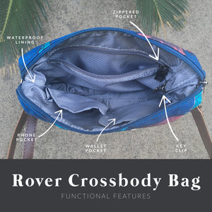 interior diagram showing the zippered pocket, key clip, wallet pocket, phone pocket, and waterproof lining of the salt atlas rover crossbody bag in blue lily print