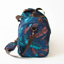 Load image into Gallery viewer, side view of the salt atlas voyager duffle in blue lily print